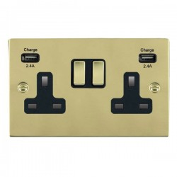 Hamilton Sheer Polished Brass 2 Gang 13A DP Switched Socket with 2x2.4A USB Outlet and Black Insert
