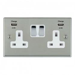 Hamilton Hartland Bright Steel 2 Gang 13A DP Switched Socket with 2x2.4A USB Outlet and White Insert