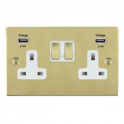 Hamilton Sheer Polished Brass 2 Gang 13A DP Switched Socket with 2x2.4A USB Outlet and White Insert