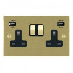 Hamilton Sheer Satin Brass 2 Gang 13A DP Switched Socket with 2x2.4A USB Outlet and Black Insert