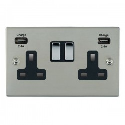 Hamilton Sheer Bright Steel 2 Gang 13A DP Switched Socket with 2x2.4A USB Outlet and Black Insert