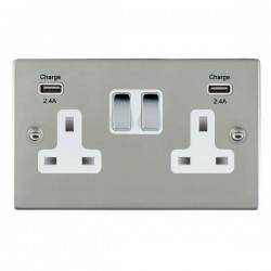 Hamilton Sheer Bright Steel 2 Gang 13A DP Switched Socket with 2x2.4A USB Outlet and White Insert
