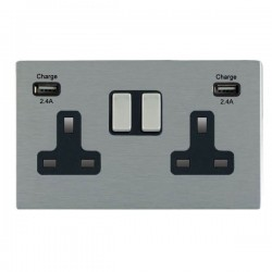 Hamilton Sheer CFX Satin Steel 2 Gang 13A DP Switched Socket with 2x2.4A USB Outlet and Black Insert