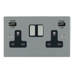 Hamilton Sheer Satin Steel 2 Gang 13A DP Switched Socket with 2x2.4A USB Outlet and Black Insert