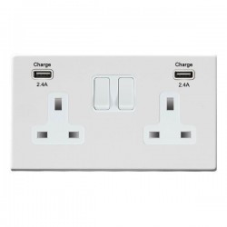 Hamilton Hartland CFX Gloss White 2 Gang 13A DP Switched Socket with 2x2.4A USB Outlet and White Insert