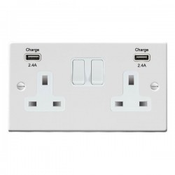 Hamilton Hartland Gloss White 2 Gang 13A DP Switched Socket with 2x2.4A USB Outlet and White Insert