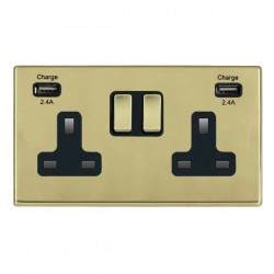 Hamilton Hartland CFX Polished Brass 2 Gang 13A DP Switched Socket with 2x2.4A USB Outlet and Black Insert