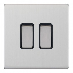 Selectric 5M-Plus Satin Chrome 2 Gang 10A 2 Way Switch with Black Insert