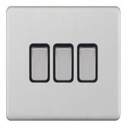 Selectric 5M-Plus Satin Chrome 3 Gang 10A 2 Way Switch with Black Insert