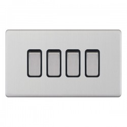 Selectric 5M-Plus Satin Chrome 4 Gang 10A 2 Way Switch with Black Insert