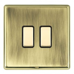 Hamilton Linea-Rondo CFX Polished Brass/Antique Brass 2 Gang Multi way Touch Slave Trailing Edge with Bla...