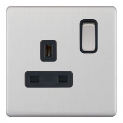 Selectric 5M-Plus Satin Chrome 1 Gang 13A DP Switched Socket with Black Insert