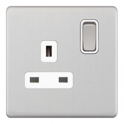 Selectric 5M-Plus Satin Chrome 1 Gang 13A DP Switched Socket with White Insert