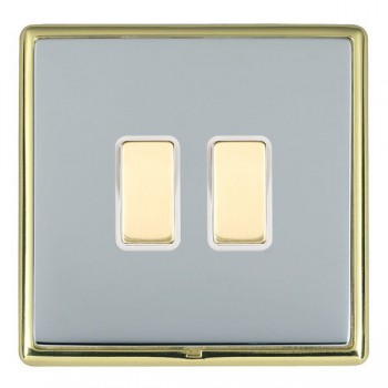 Hamilton Linea-Rondo CFX Polished Brass/Bright Steel 2 Gang Multi way Touch Slave Trailing Edge with White Insert