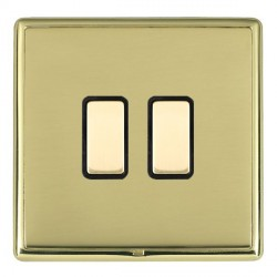 Hamilton Linea-Rondo CFX Polished Brass/Polished Brass 2 Gang Multi way Touch Slave Trailing Edge with Bl...