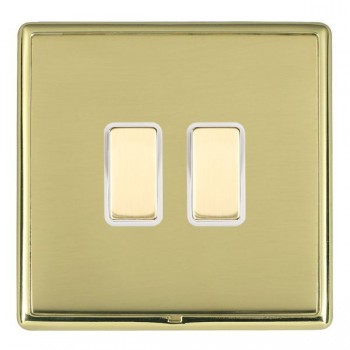Hamilton Linea-Rondo CFX Polished Brass/Polished Brass 2 Gang Multi way Touch Slave Trailing Edge with White Insert