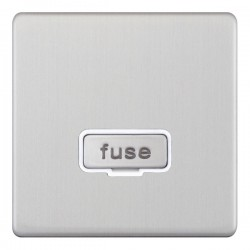 Selectric 5M-Plus Satin Chrome 13A Fused Connection Unit with White Insert