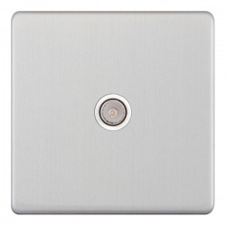 Selectric 5M-Plus Satin Chrome 1 Gang TV Socket with White Insert