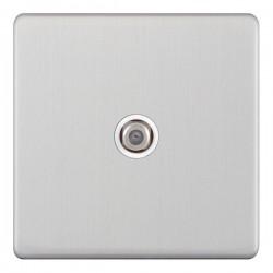 Selectric 5M-Plus Satin Chrome 1 Gang Satellite Socket with White Insert