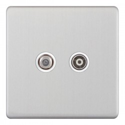 Selectric 5M-Plus Satin Chrome 2 Gang Satellite and TV/FM Socket with White Insert