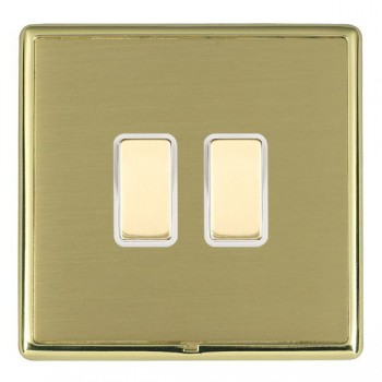 Hamilton Linea-Rondo CFX Polished Brass/Satin Brass 2 Gang Multi way Touch Slave Trailing Edge with White Insert