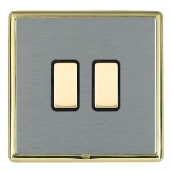 Hamilton Linea-Rondo CFX Polished Brass/Satin Steel 2 Gang Multi way Touch Slave Trailing Edge with Black Insert