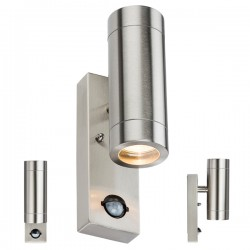 Knightsbridge 2X35W Stainless Steel Up/Down Wall Light with PIR Sensor
