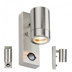 Knightsbridge 35W Stainless Steel Wall Light with PIR Sensor