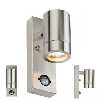 Knightsbridge 35W Stainless Steel Wall Light with PIR Sensor