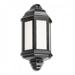 Knightsbridge 8W Black LED Half Wall Lantern with PIR
