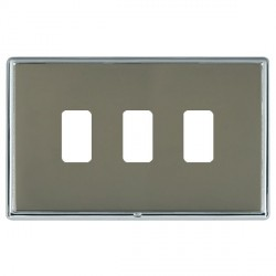 Hamilton Linea-Rondo CFX Bright Chrome/Black Nickel 3 Gang Grid Fix Aperture Plate with Grid