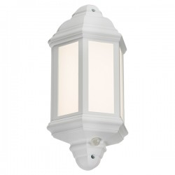 Knightsbridge 8W White LED Half Wall Lantern with PIR