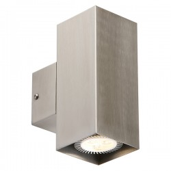 Knightsbridge 2x35W Square Stainless Steel Up/Down Wall Light