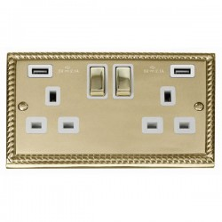 Click Deco Georgian Cast Brass 2 Gang 13A Ingot Switched Socket with White Insert and 2x2.1A USB Outlet