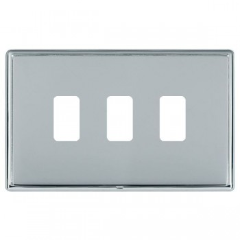 Hamilton Linea-Rondo CFX Bright Chrome/Bright Steel 3 Gang Grid Fix Aperture Plate with Grid