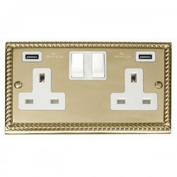 Click Deco Georgian Cast Brass 2 Gang 13A Switched Socket with White Insert and 2x2.1A USB Outlet