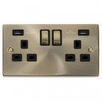 Click Deco Victorian Antique Brass 2 Gang 13A Ingot Switched Socket with Black Insert and 2x2.1A USB Outlet