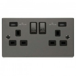 Click Deco Victorian Black Nickel 2 Gang 13A Ingot Switched Socket with Black Insert and 2x2.1A USB Outle...