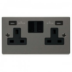 Click Deco Victorian Black Nickel 2 Gang 13A Switched Socket with Black Insert and 2x2.1A USB Outlet