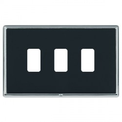 Hamilton Linea-Rondo CFX Bright Chrome/Piano Black 3 Gang Grid Fix Aperture Plate with Grid
