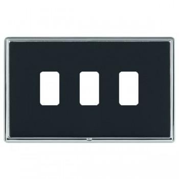 Hamilton Linea-Rondo CFX Bright Chrome/Piano Black 3 Gang Grid Fix Aperture Plate with Grid