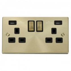 Click Deco Victorian Satin Brass 2 Gang 13A Ingot Switched Socket with Black Insert and 2x2.1A USB Outlet