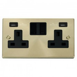 Click Deco Victorian Satin Brass 2 Gang 13A Switched Socket with Black Insert and 2x2.1A USB Outlet