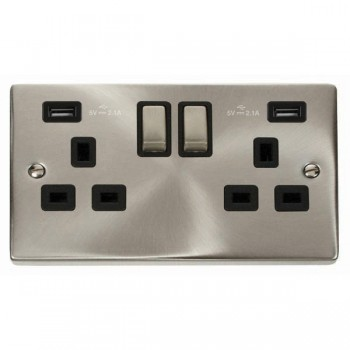 Click Deco Victorian Satin Chrome 2 Gang 13A Ingot Switched Socket with Black Insert and 2x2.1A USB Outlet