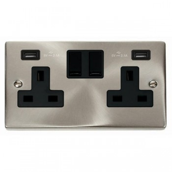 Click Deco Victorian Satin Chrome 2 Gang 13A Switched Socket with Black Insert and 2x2.1A USB Outlet