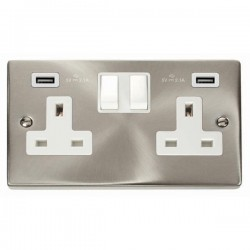 Click Deco Victorian Satin Chrome 2 Gang 13A Switched Socket with White Insert and 2x2.1A USB Outlet