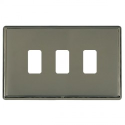 Hamilton Linea-Rondo CFX Black Nickel/Black Nickel 3 Gang Grid Fix Aperture Plate with Grid