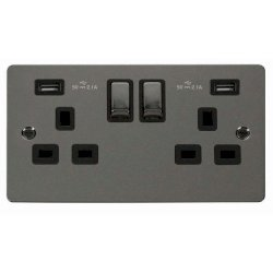 Click Define Black Nickel Flat Plate 2 Gang 13A Ingot Switched Socket with Black Insert and 2x2.1A USB Outlet