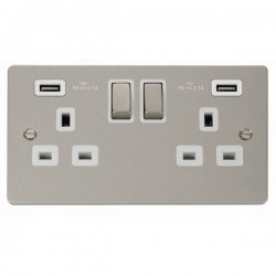 Click Define Pearl Nickel Flat Plate 2 Gang 13A Ingot Switched Socket with White Insert and 2x2.1A USB Outlet