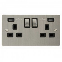 Click Define Stainless Steel Flat Plate 2 Gang 13A Ingot Switched Socket with Black Insert and 2x2.1A USB Outlet